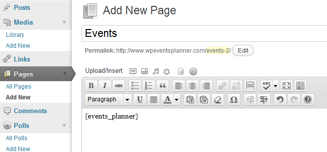 Events Planner Shortcode