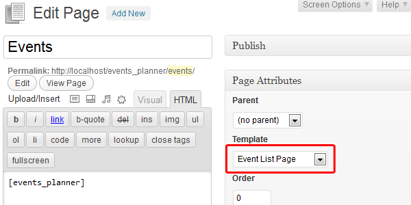 Theme Template Setup - Events Planner for Wordpress